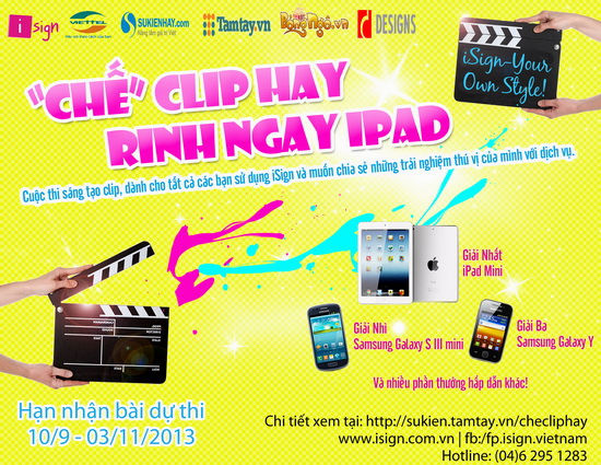 cuộc thi chế clip hay rinh ngay ipad isign